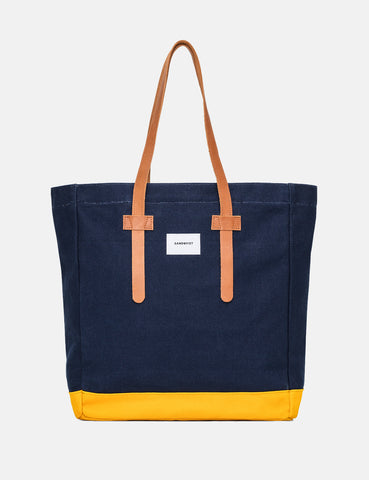 Sandqvist Stig Tote Bag (Canvas) - Blue/Yellow
