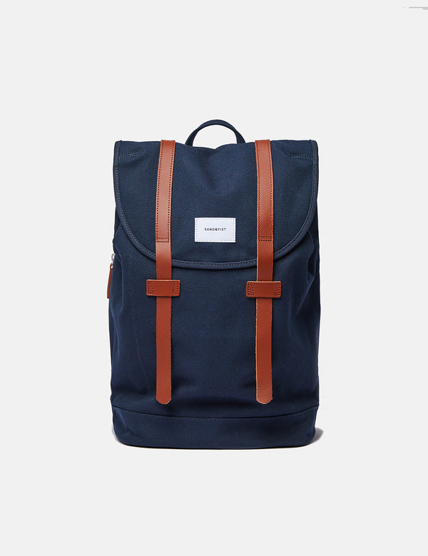 Sandqvist Stig Backpack (Large) - Navy Blue/Cognac Brown