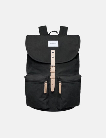 Sandqvist Roald Ground Backpack (Canvas) - Black/Natural Leather