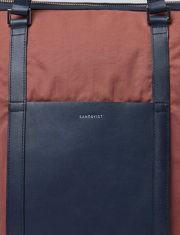 Sandqvist Marta Tote Bag - Marron/Navy Blue