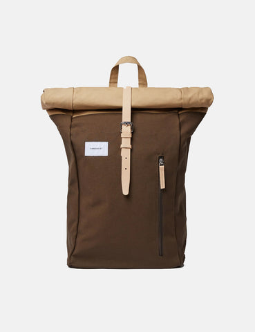 Sandqvist Dante Roll Top Backpack - Olive Green/Beige