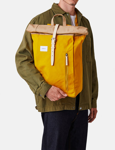 Sandqvist Dante Roll Top Backpack - Beige/Yellow