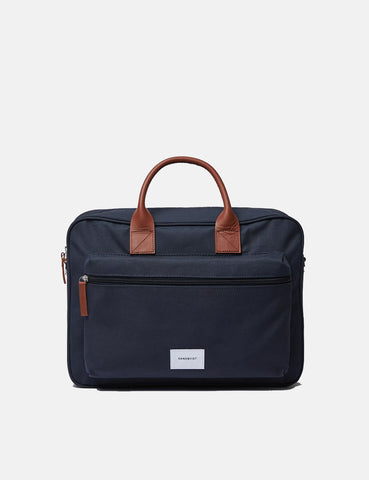 Sandqvist Emil Briefcase - Navy Blue/Cognac Brown
