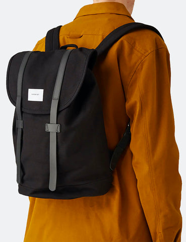 Sandqvist Stig Backpack (Canvas) - Black/Black