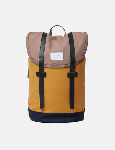 Sandqvist Stig Backpack (Canvas) - Earth Brown/Honey Yellow/Navy Blue