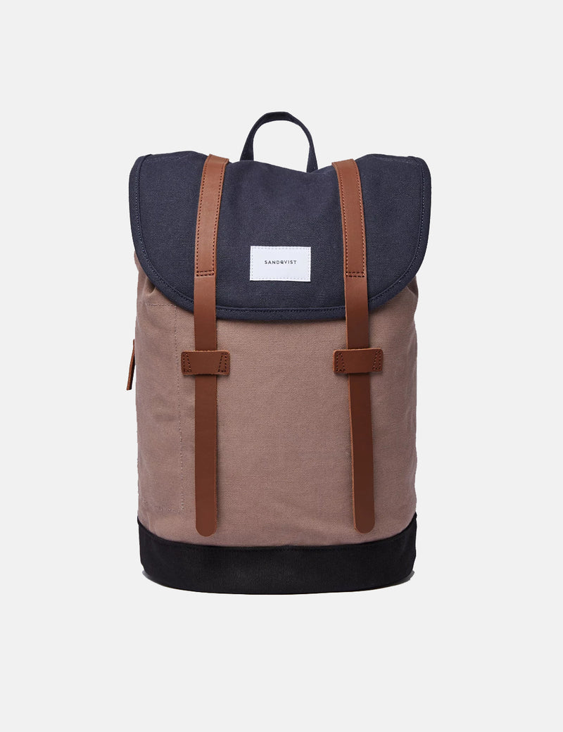 Sandqvist Stig Backpack (Canvas) - Navy Blue/Earth Brown