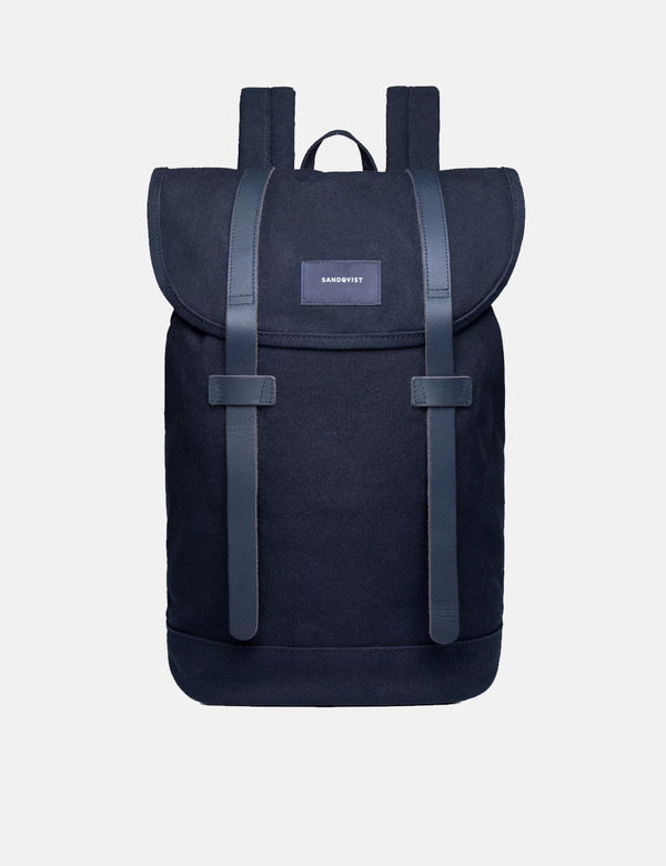 Sandqvist Stig Backpack (Canvas) - Navy Blue/Navy Blue