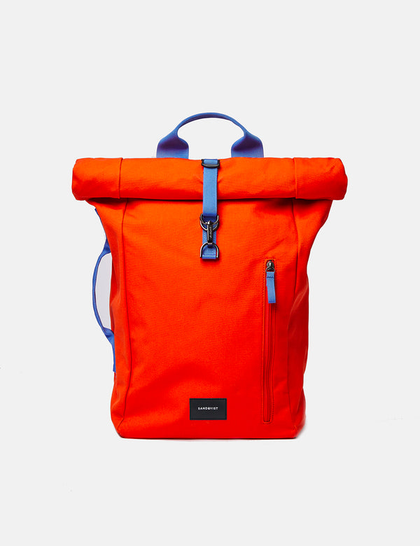 Sandqvist Dante Metal Hook Roll Top Backpack - Poppy Red