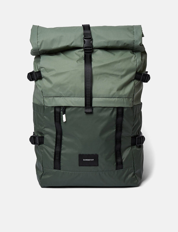 Sandqvist Bernt Lightweight Backpack - Dusty Green/Night Green