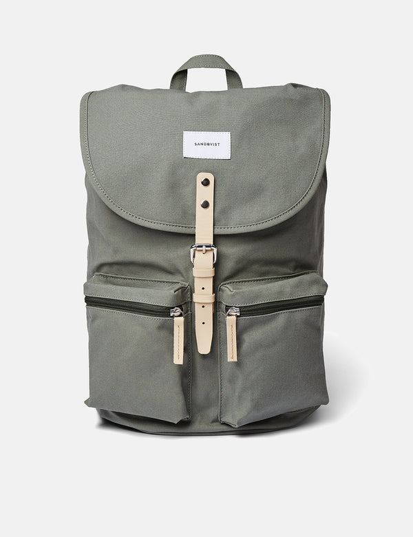 Sac à Dos Sandqvist Roald - Dusty Green/Natural Leather