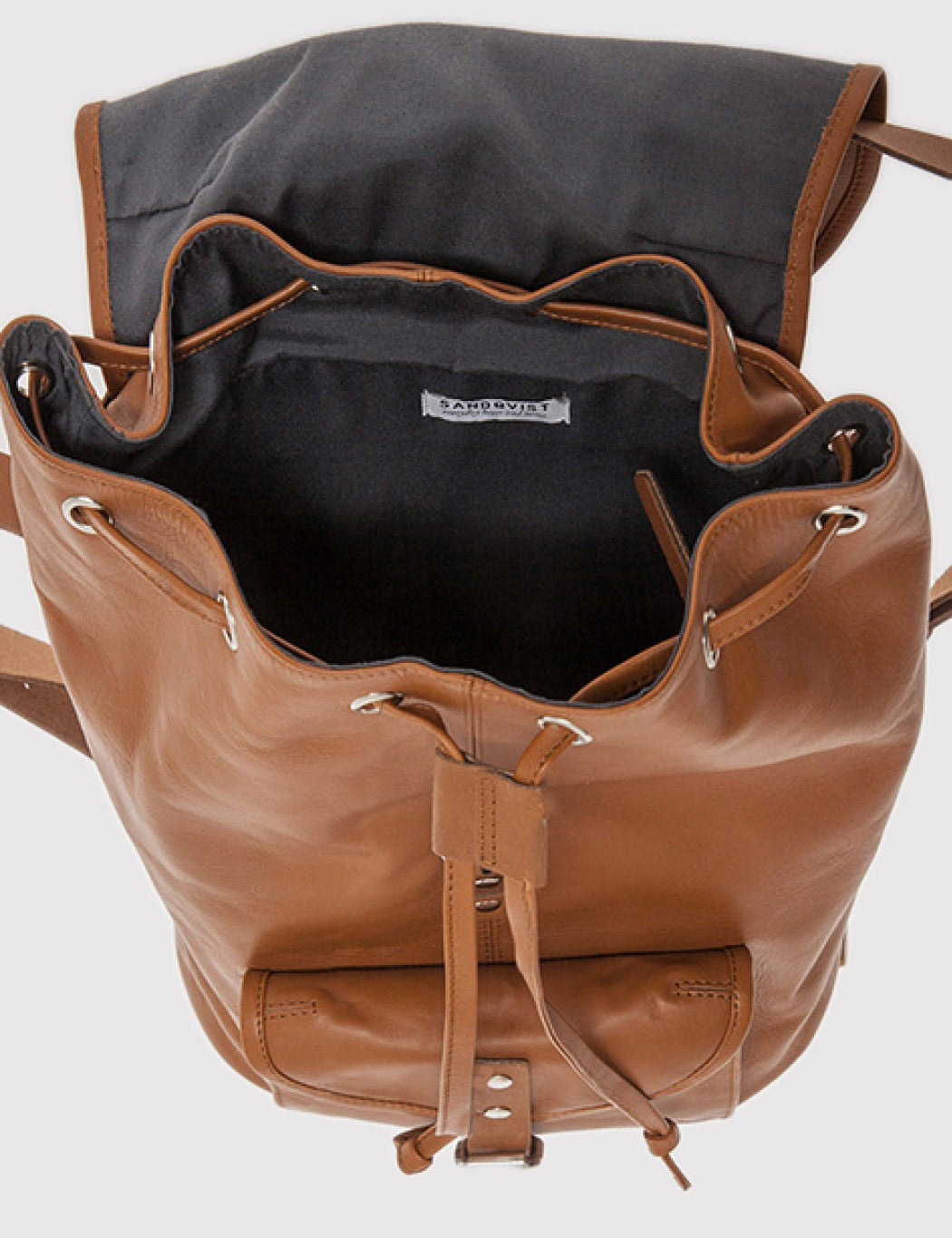 Sandqvist Helmer Leather Backpack - Cognac Brown
