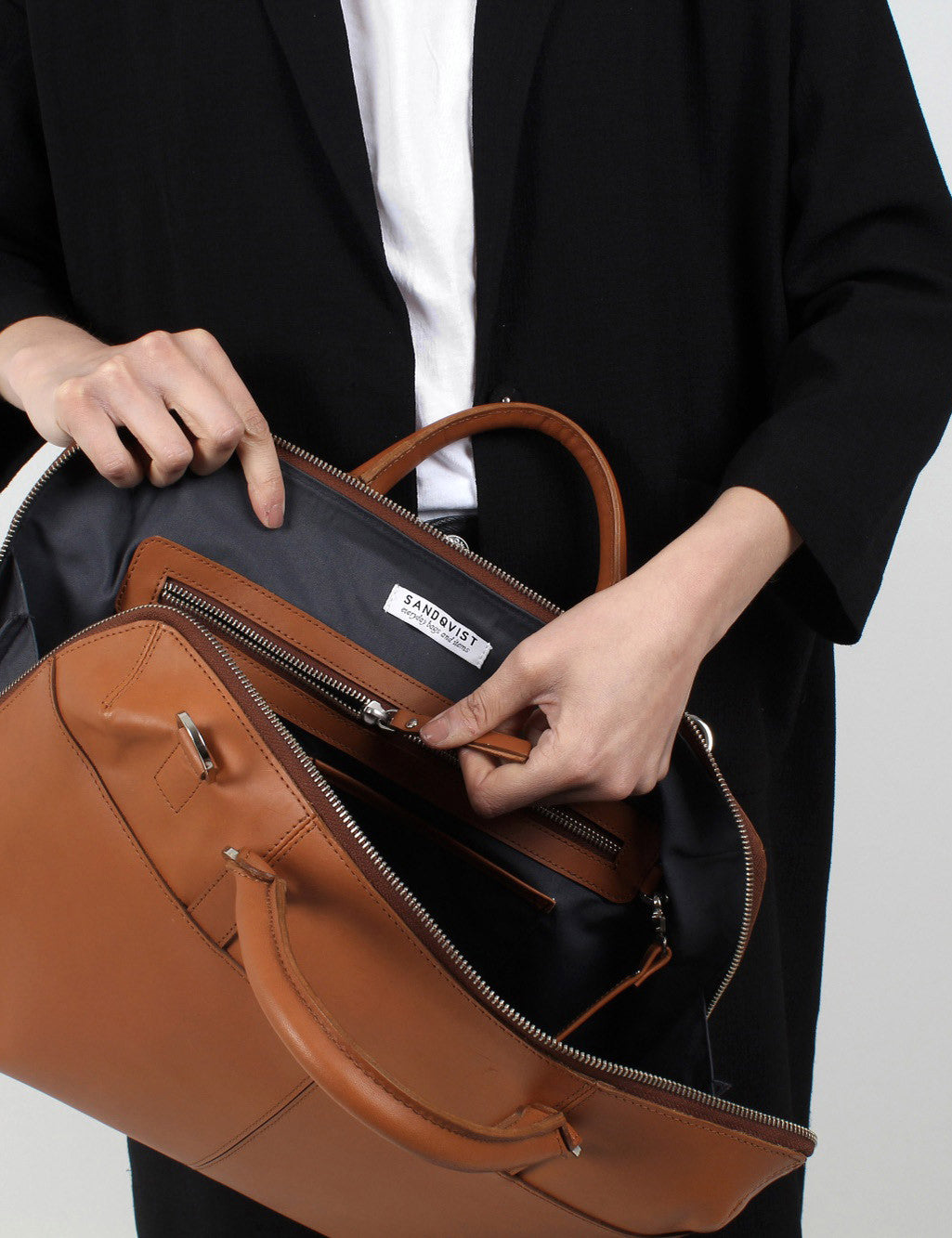 Sandqvist Dustin Leather Briefcase - Cognac Brown