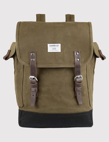 Sandqvist Bob Backpack (Waxed) - Olive Green