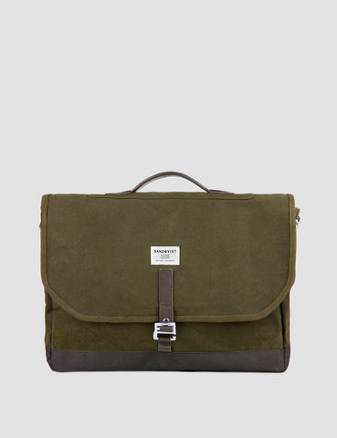 Sandqvist Finn Messenger Bag (Canvas) - Waxed Olive
