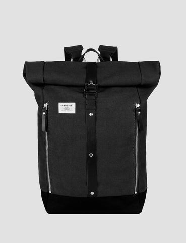 Sandqvist Rolf Rolltop Backpack (Canvas) - Waxed Black