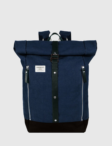 Sandqvist Rolf Rolltop Backpack (Canvas) - Waxed Blue