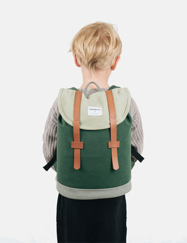 Sandqvist Stig Mini Backpack (Canvas) - Forest Green/Sage