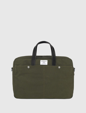 Sandqvist Mats Waxed Briefcase (Canvas) - Olive Green