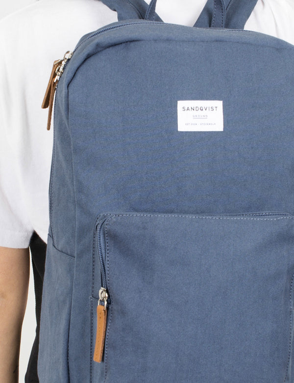 Sandqvist Kim Ground Backpack (Canvas) - Dusty Blue