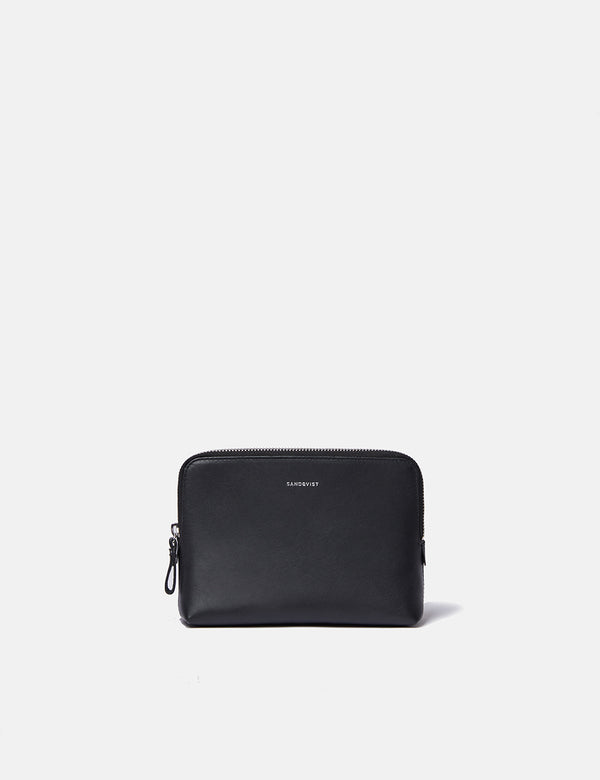 Sandqvist Altea Wash Bag (Leather) - Black