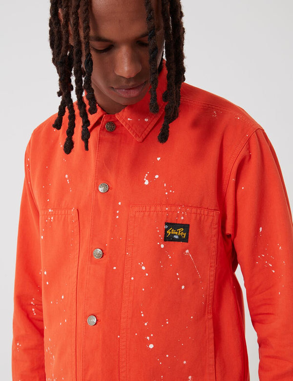 Stan Ray Box Jacke (Bleach Splatter) - Coral Red