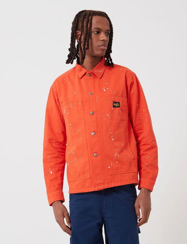 Stan Ray Box Jacket (Bleach Splatter) - Coral Red