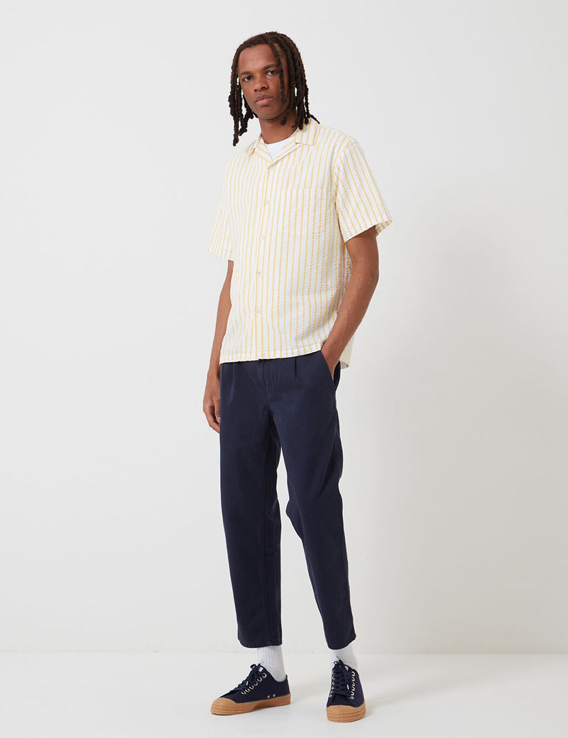Portuguese Flannel Rayures Shirt (Stripe) - White/Yellow