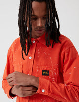 Stan Ray Prison Shirt (Bleach Splatter) - Coral Red
