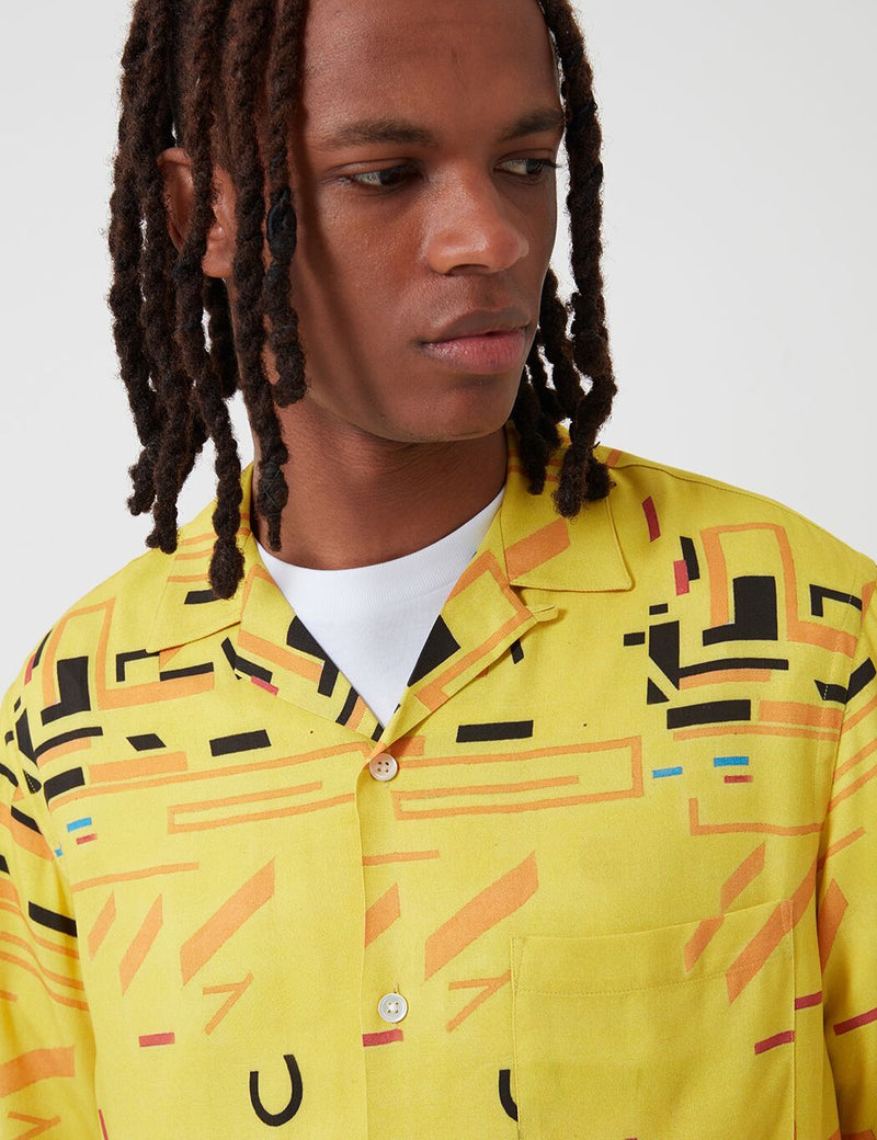 Portuguese Flannel Geometry Two Shirt - Yellow