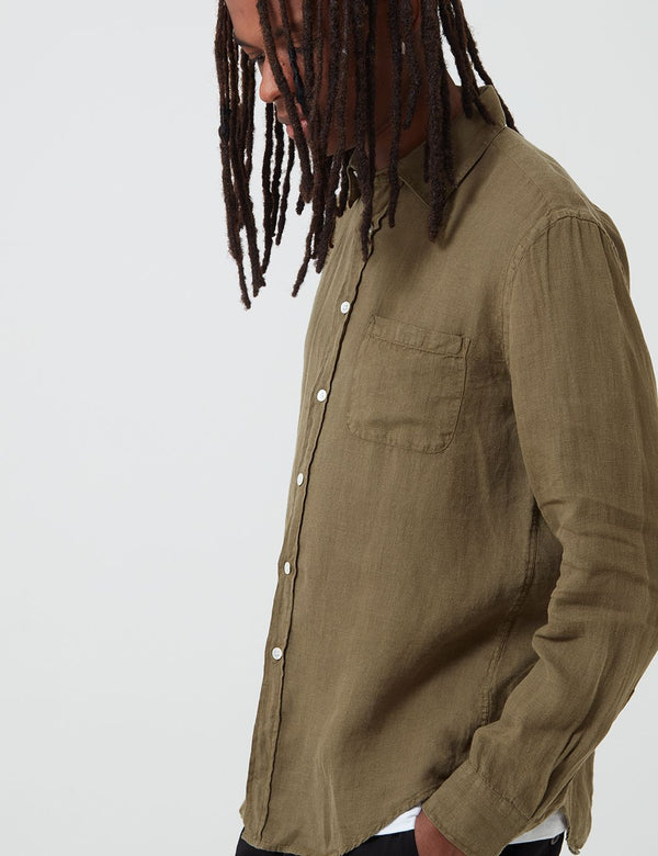 Portuguese Flannel Linen Shirt - Olive Green