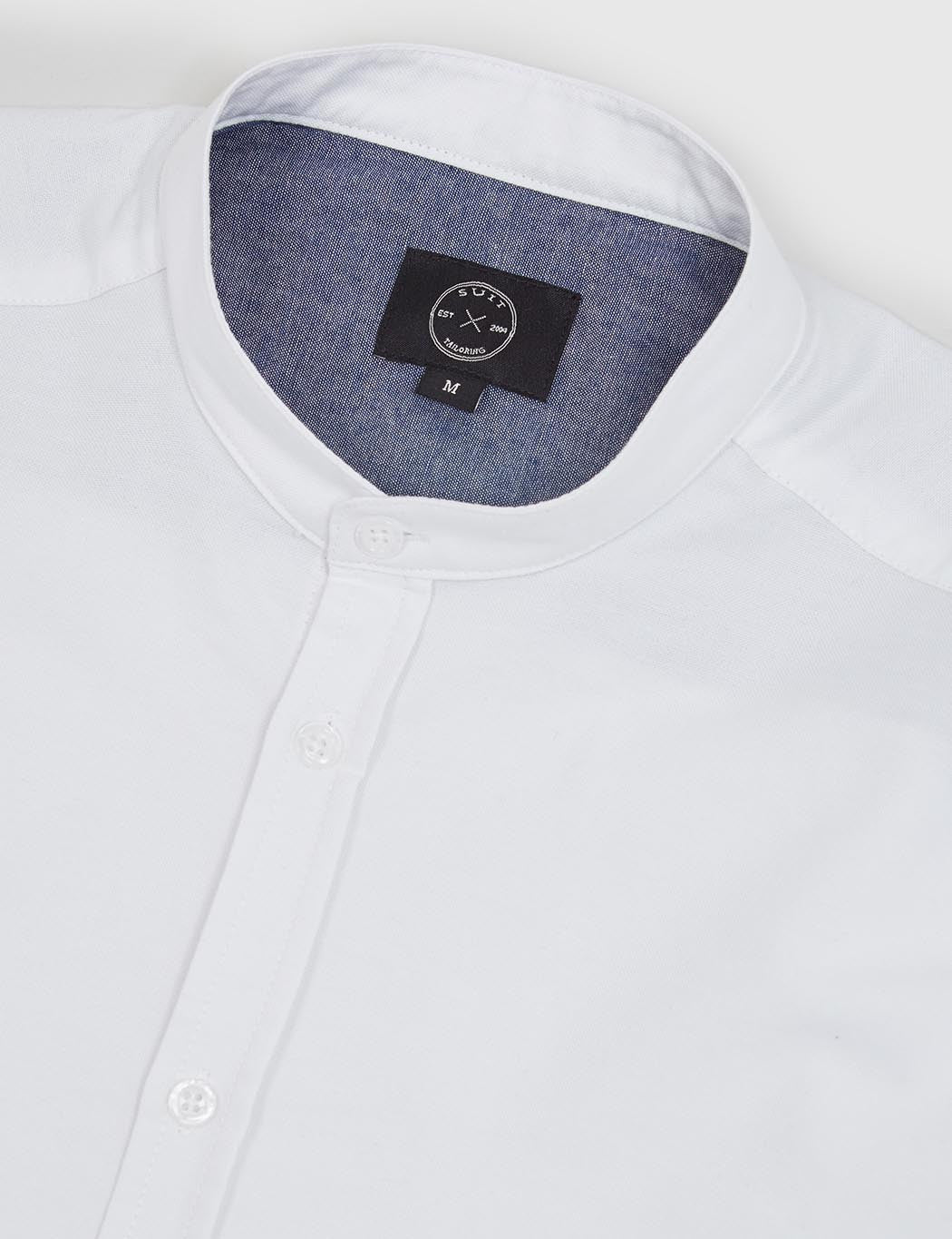 Suit Grandad Oxford Shirt - White