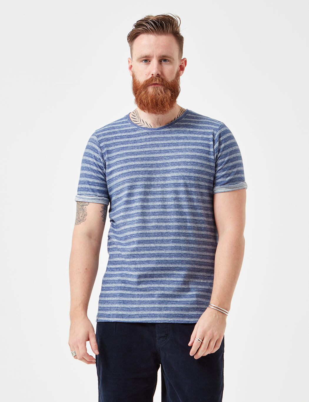 Suit Bobby Jaquard Stripe T-Shirt - Indigo Blue | URBAN EXCESS.