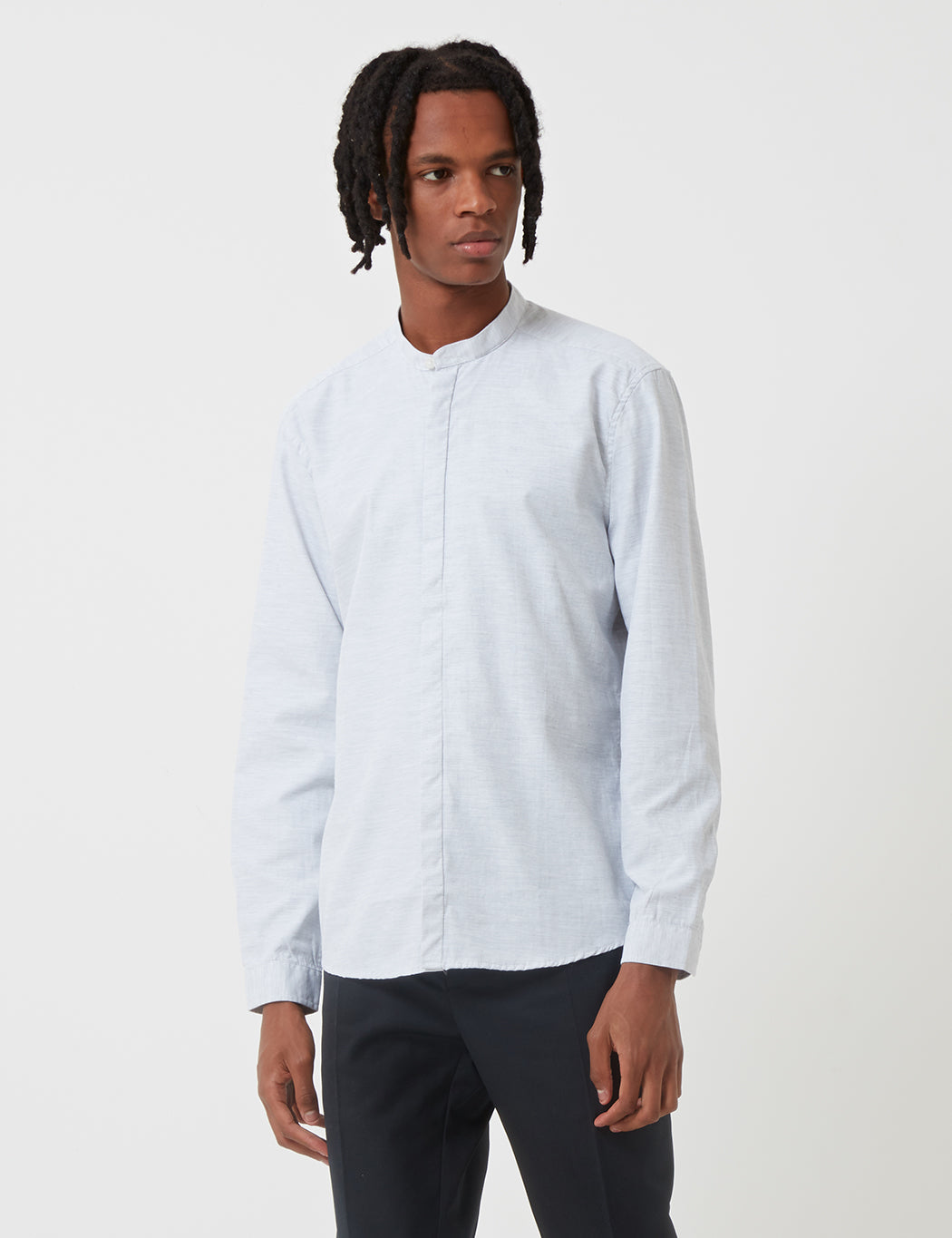 Suit Damon Long Sleeve Shirt - Light Grey Melange