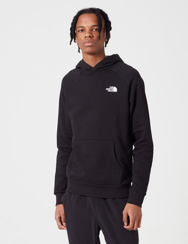 North Face Raglan Red Box Hooded Sweatshirt - Black