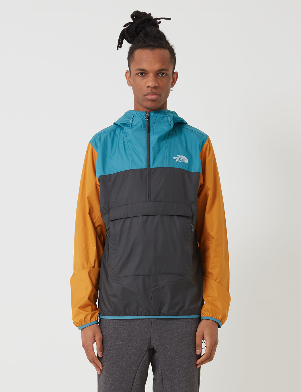 d42603a11 North Face Fanorak Pullover Jacket - Asphalt Grey/Storn Blue/Citrine Yellow