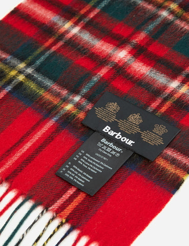 Barbour New Check Tartan Scarf - Royal Red