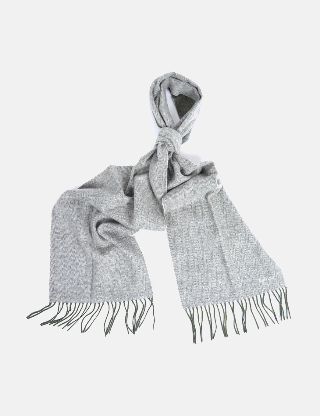 Barbour Herringbone Double Faced Scarf - Dark Green/Grey