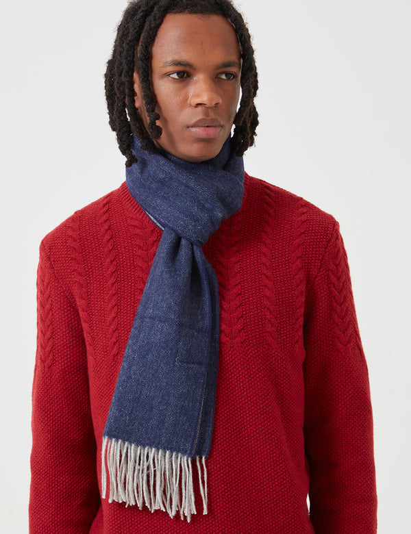 Barbour Herringbone Double Faced Scarf - Grey/Navy Blue