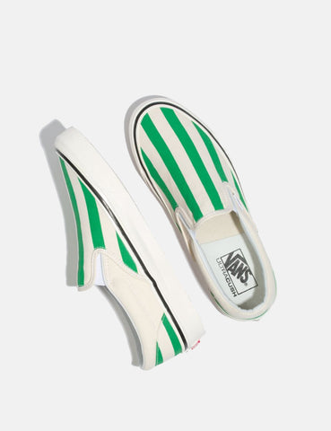 Vans Classic Slip-On 98 DX (Canvas) - White/OG Emerald/Big Stripes