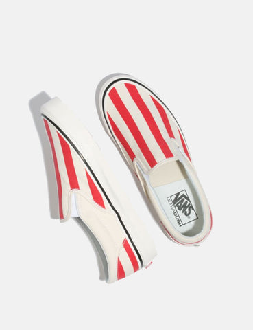 Vans Classic Slip-On 98 DX (Canvas) - White/OG Red/Big Stripes