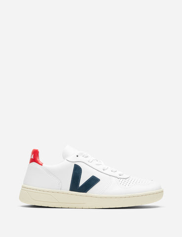 Womens Veja V-10 Leather Trainers - Extra White/Navy/Red