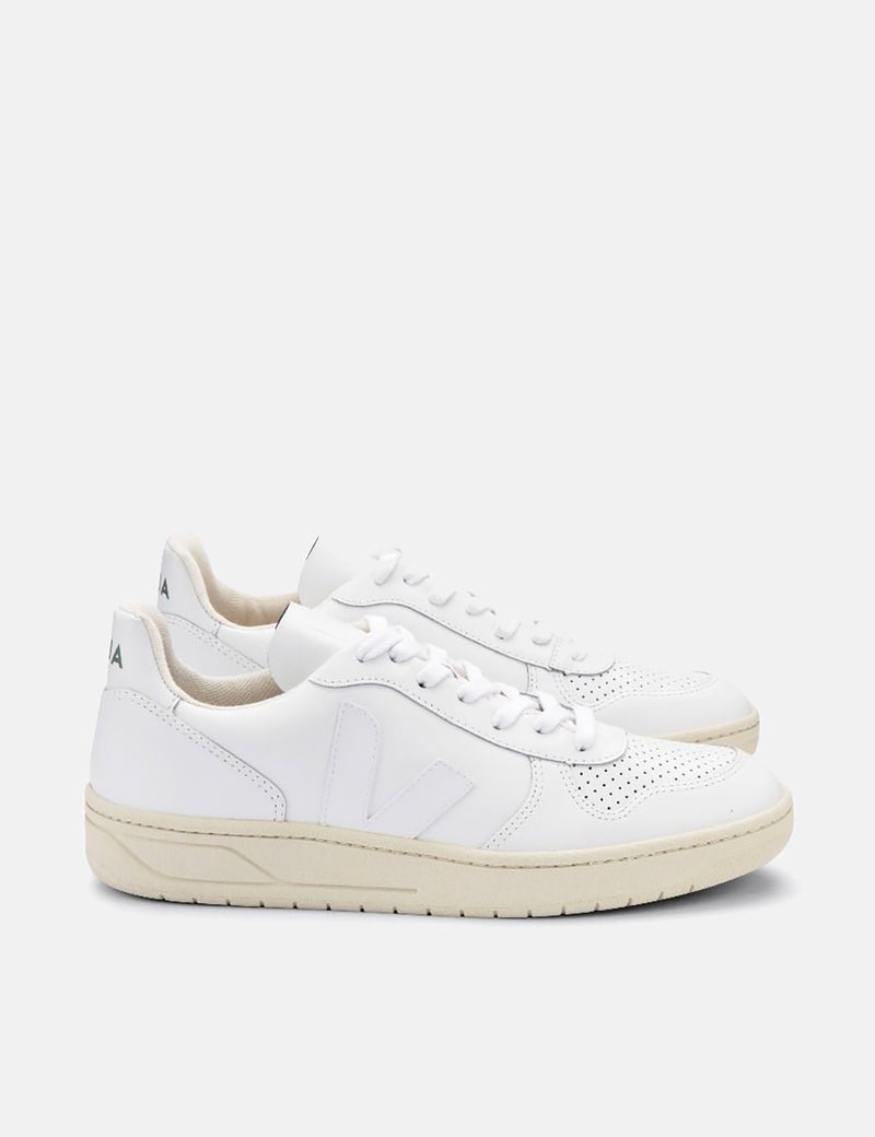 Veja V-10 Leather Trainers - Extra White/White