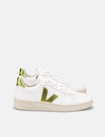 Womens Veja V-10 Leather Trainers - Extra White/Pagi