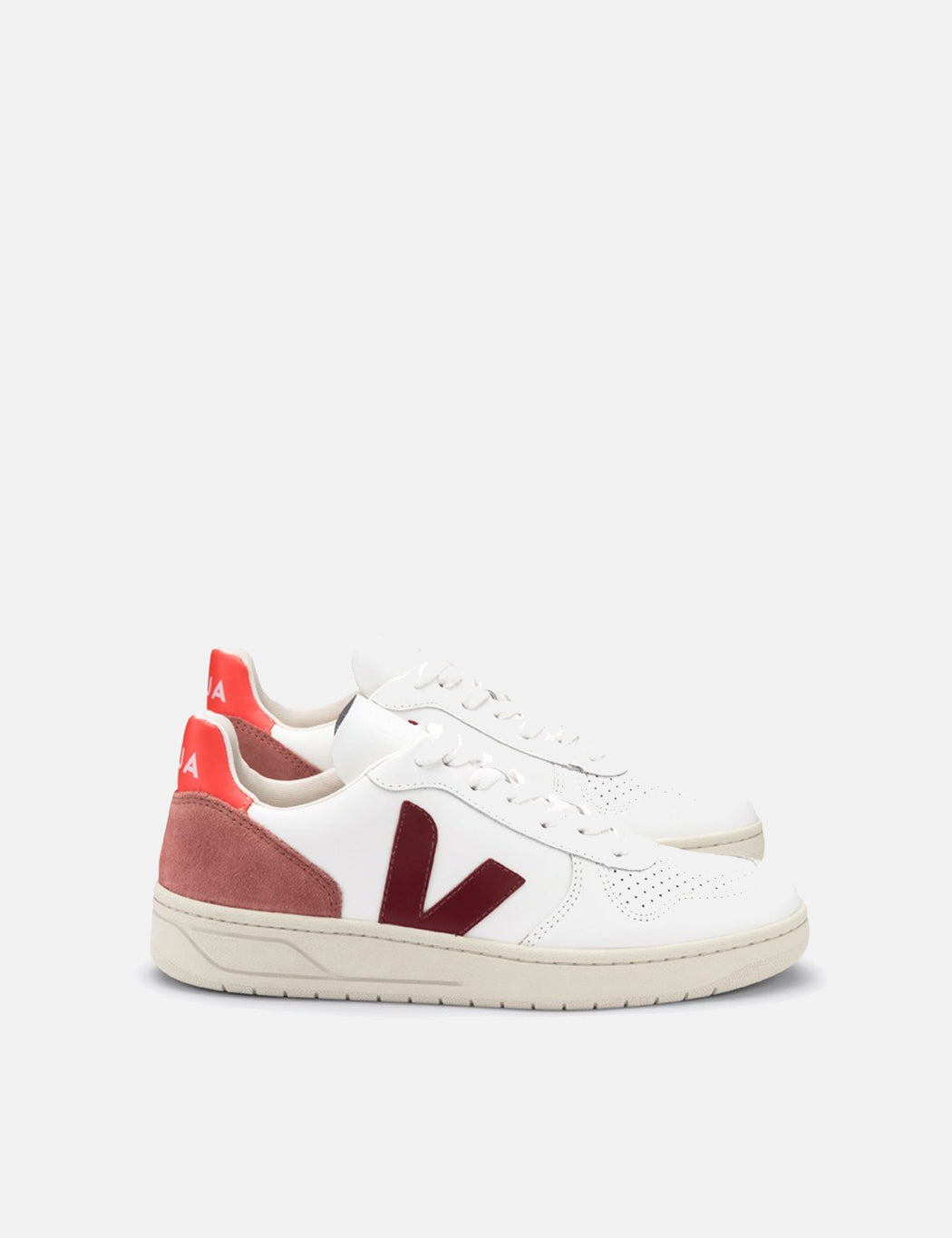 Womens Veja V-10 Leather Trainers - Extra White/Marsala Dried Petal/Orange