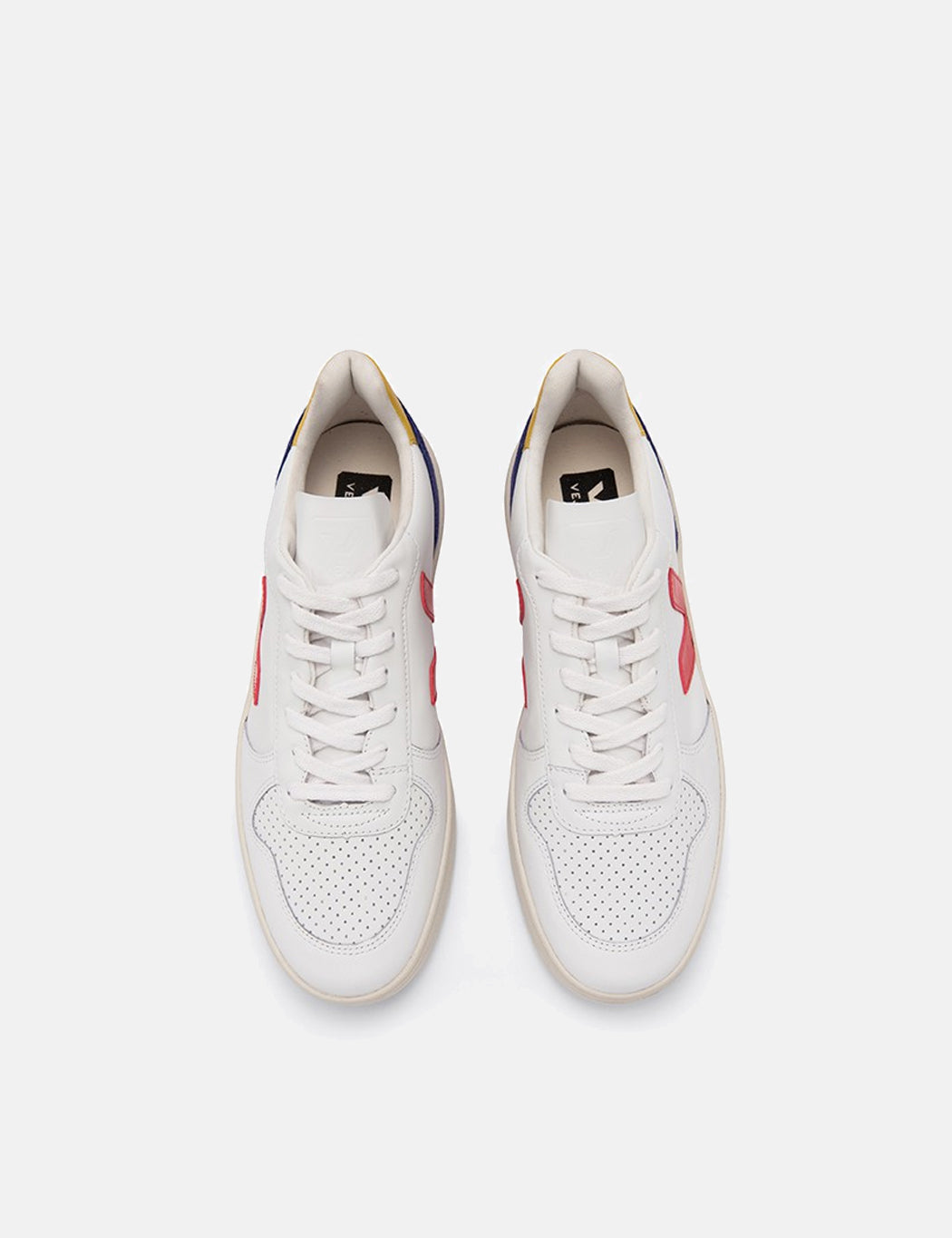 Veja V-10 Leather Trainers - Extra White/Pekin/Cobalt Tonic