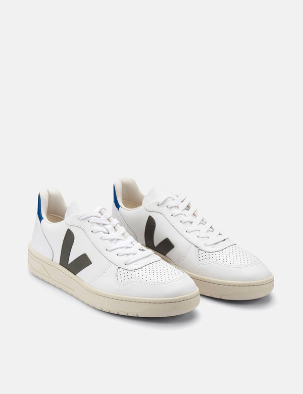 Womens Veja V-10 Leather Trainers - White/Kaki/Indigo