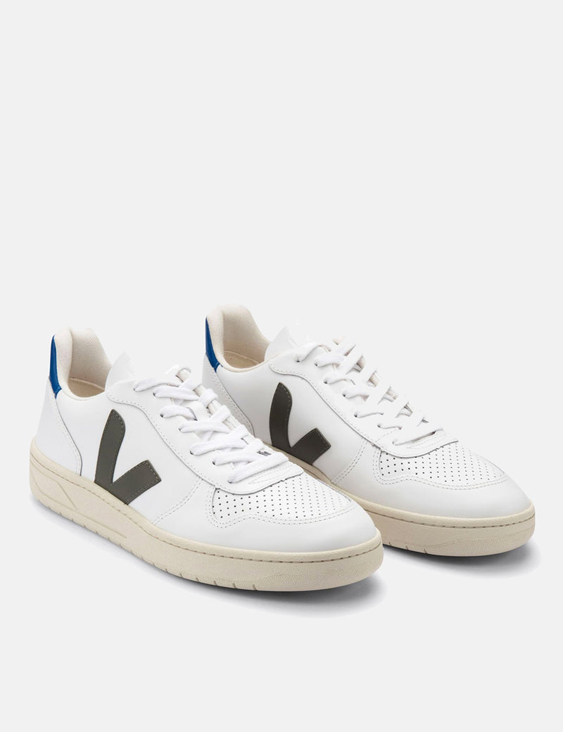 Veja V-10 Leather Trainers - Extra White/Khaki/Indigo