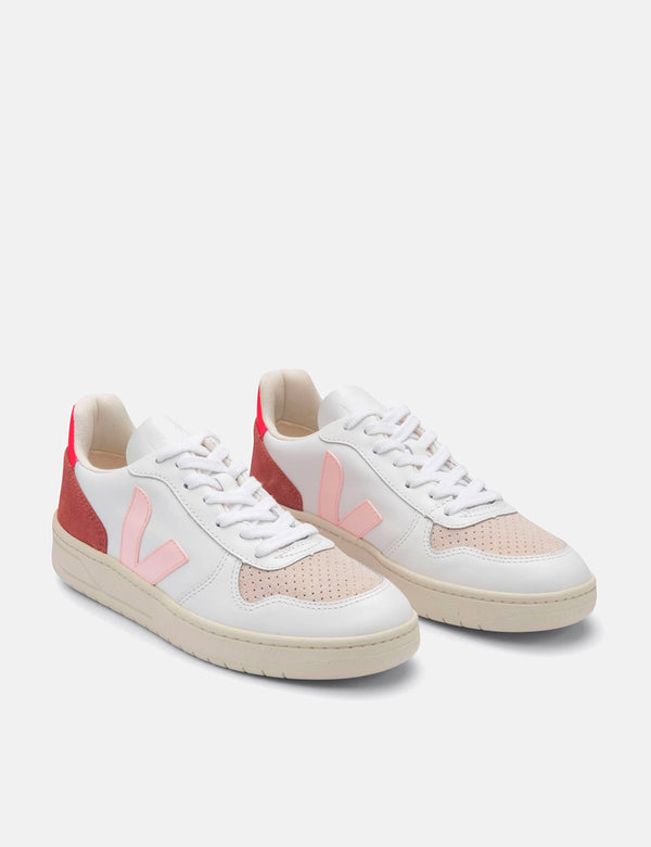 Womens Veja V-10 Leather Trainers - White/Petale/Rose Fluo