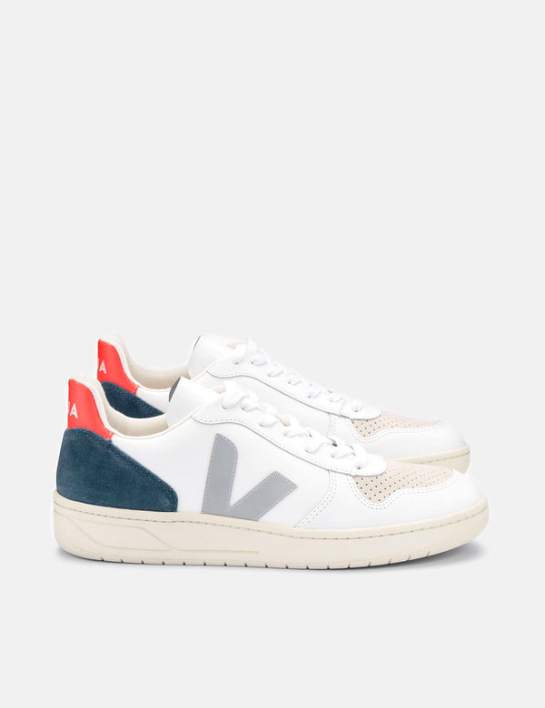 Veja V-10 Leather Trainers - White/Oxford Grey/Orange Fluo