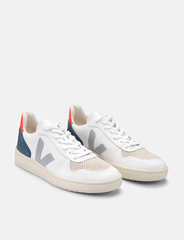 Womens Veja V-10 Leather Trainers - White/Oxford Grey/Orange Fluo